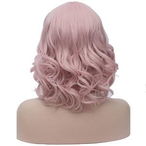 Image 2 - MSIWIGS pelucas de pelo sintético corto Bobo para mujer, color rosa, con flequillo, azul y verde