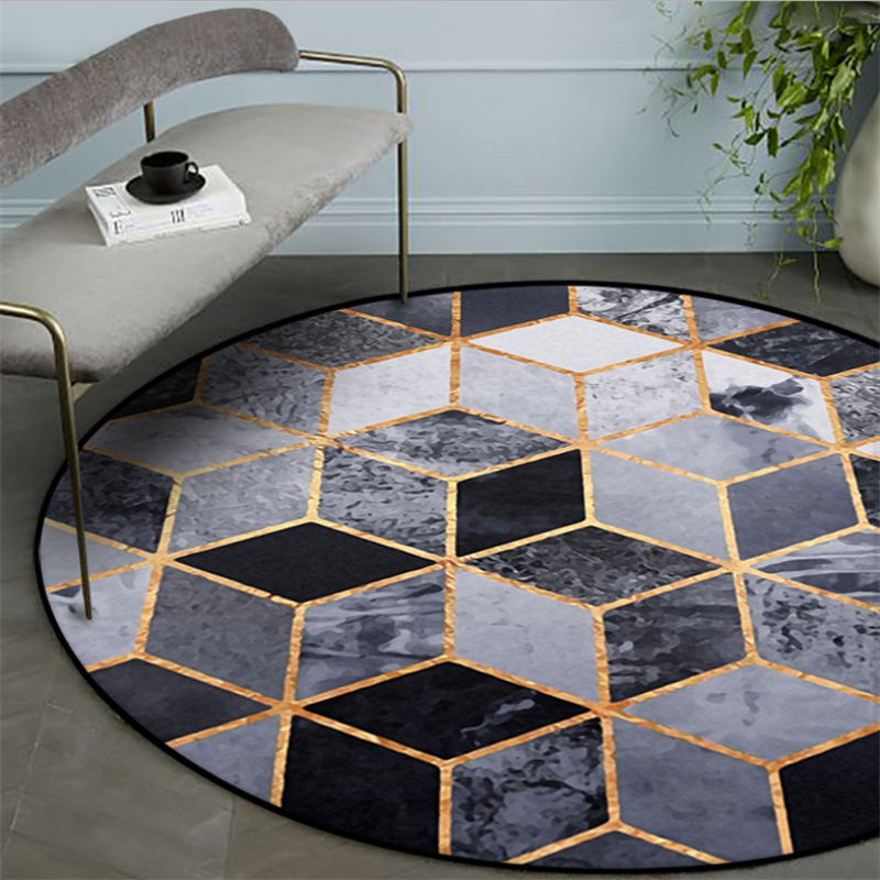 Carpets For Living Room Nordic Black Square Pattern Round Carpet Grey Modern Home Decor Rugs For Children Rooms 100% Polyester