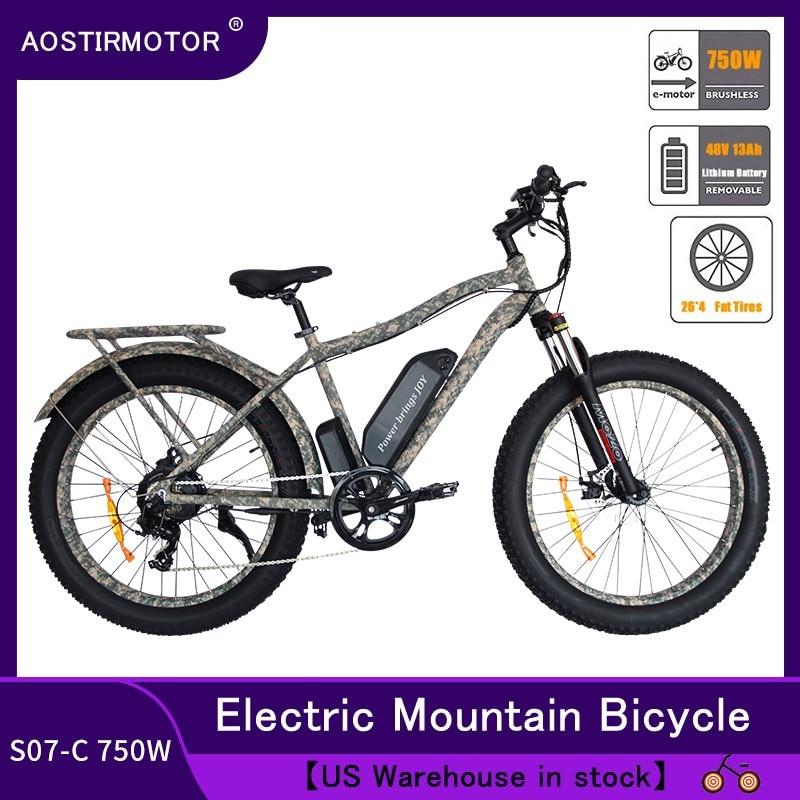 AOSTIRMOTOR Electric Mountain font b Bike b font Fat Tire ebike 750W 48v 13AH US Stock