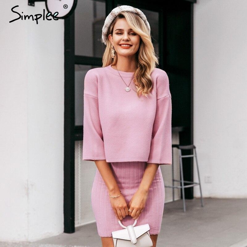Simplee Elegant 2 Pieces Women Knitted Dress Slim Sleeveless Sweater Dress Autumn Winter Ladies Pullover Work Wear Sweater Suit