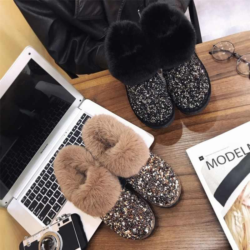 Kadın Kış sıcak Botlar Antiskid Taban Bayan Kar Botları Parlak Marka Moda Stil Kolay Aşınma Tüylü yarım çizmeler Artı boyutu 36 -40