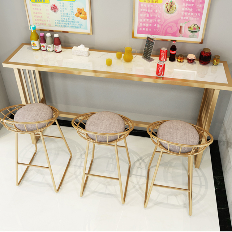 Nordic Marble Bar Stools Wrought Iron Net Red High Stools Home Living Room Partition Cabinet Simple Modern Bar Chair