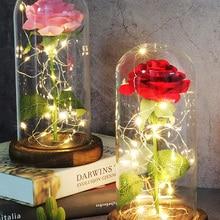 """Светодиодный фляга """"Красавица и Чудовище"""" с красной розой, стеклянные вечные розы для рождественских подарков, украшения для семьи, подарок ..."""