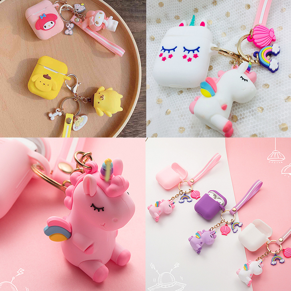 For AirPods Case Cartoon With Keychain Unicorn Accessories Silicone Case Fashion Cute For Air Pods 2 Wireless Earphone Cover