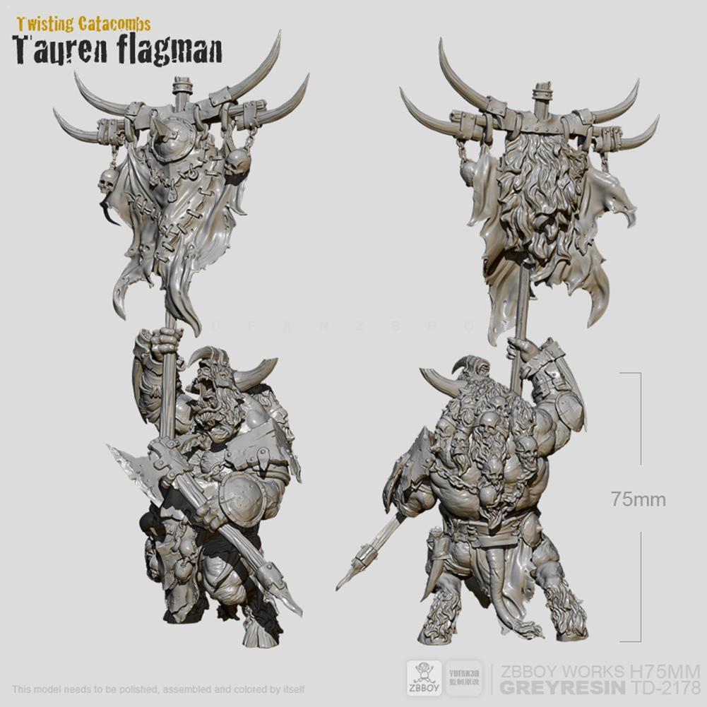 <font><b>1/24</b></font> <font><b>75mm</b></font> <font><b>Resin</b></font> Figure <font><b>Model</b></font> <font><b>Kits</b></font> Minotaur Warrior <font><b>Resin</b></font> Toy Carrying Flag Soldier <font><b>Model</b></font> <font><b>Resin</b></font> Self-assembly White <font><b>Model</b></font> So H4U3 image