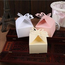 50pcs/lot Small Paper Candy Boxes Foldable Butterfly Gift Box for Buscuit Engagement Party Favors Wedding Supplies Guests