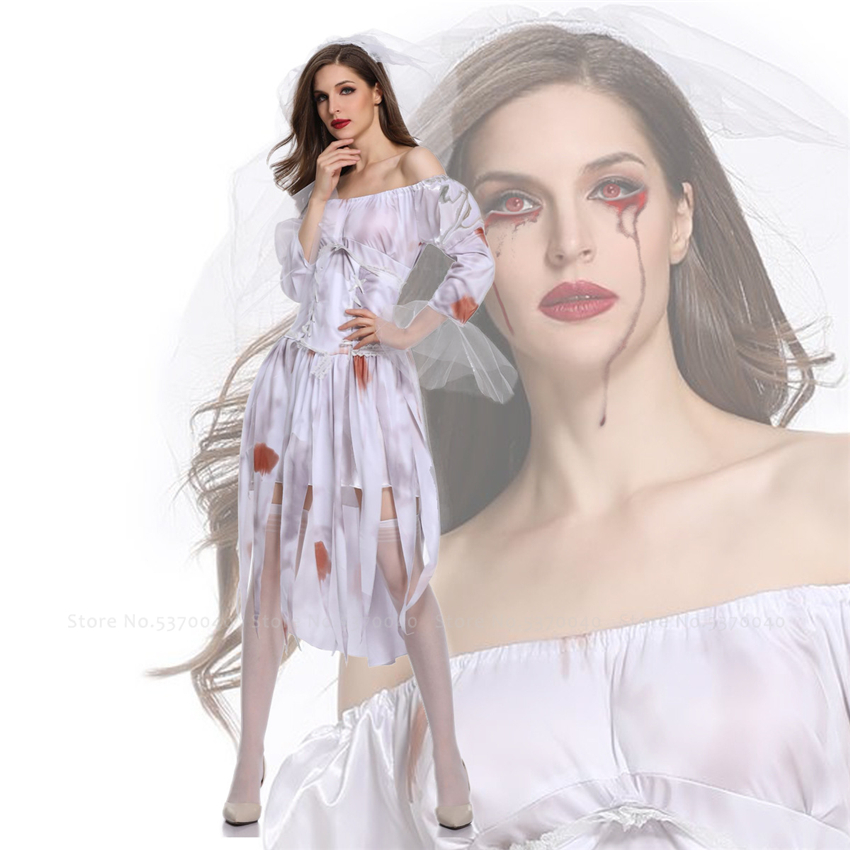 <font><b>Halloween</b></font> Sister Bloody Bride Devil Scary Cosplay Costume <font><b>Women</b></font> <font><b>Sexy</b></font> Party Corpse Vampire Stage Outfits Fancy Shoulder Off <font><b>Dress</b></font> image