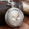 Роскошные Механические карманные часы с цепочкой Крылья Ангела полые Подвесные часы для мужчин и женщин золотые и Серебристые ручной обмот...