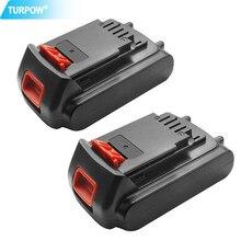 Turpow 2 pces 18v/20v 3000mah li-ion bateria recarregável ferramenta elétrica substituição bateria para black & decker lb20 lbx20 lbxr20