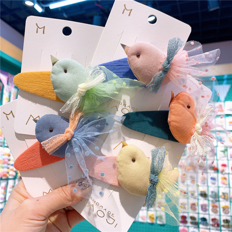 2020 New Rainbow Cute Children Hairpin Hair Clips Accessories For Girls Kids Hair Hairclip Headdress Cartoon Lace Princess Bird