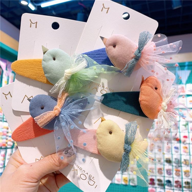 2020 New Rainbow Cute Children Hairpin Hair Clips Accessories For Girls Kids Hair Hairclip Headdress Cartoon Lace Princess Bird