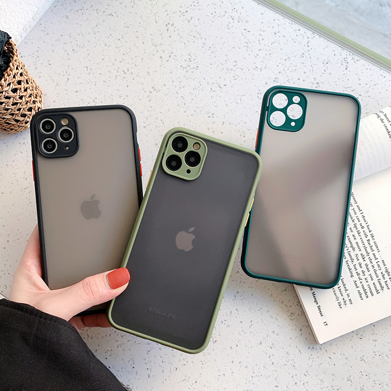 Camera Protection Bumper Phone Cases For iPhone 11 11 Pro Max XR XS Max X 8 7 6 6S Plus Matte Translucent Shockproof Back Cover(China)