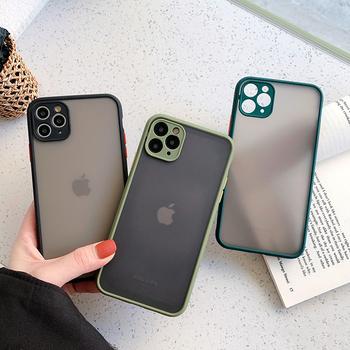 Ochrona aparatu zderzak etui na iphone #8217 a 11 11 Pro Max XR XS Max X 8 7 6 6S Plus matowa przezroczysta odporna na wstrząsy tylna okładka tanie i dobre opinie Ranipobo Zwykły Matowy Przezroczysty Aneks Skrzynki Contrast Color Frosted Transparent Phone Case Odporna na brud Anti-knock