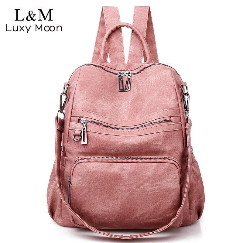 Casual Women's Leather Backpack High Quality School Backpacks Vintage Shoulder Bags Multifunction Sac Mochila Feminina XA515H