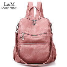 Casual Womens Leather Backpack High Quality School Backpacks Vintage Shoulder Bags Multifunction Sac Mochila Feminina XA515H