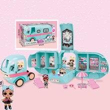 Lol genuíno surpresa casa lols bonecas original glamper 2-em-1 brinquedos ônibus omg boneca irmã brinquedo menina presente de natal