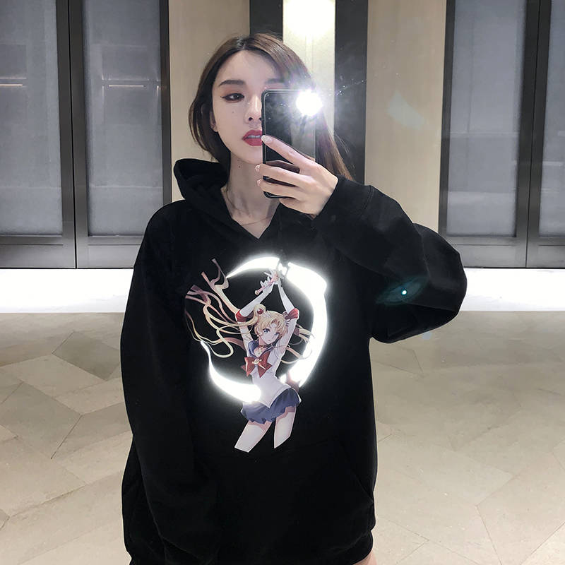 Harajuku Japanese Cartoon Reflective Print Hoodies Women Punk Oversize Sweatshirt Pullover Streetwear Sailor Moon Hoodie Girl