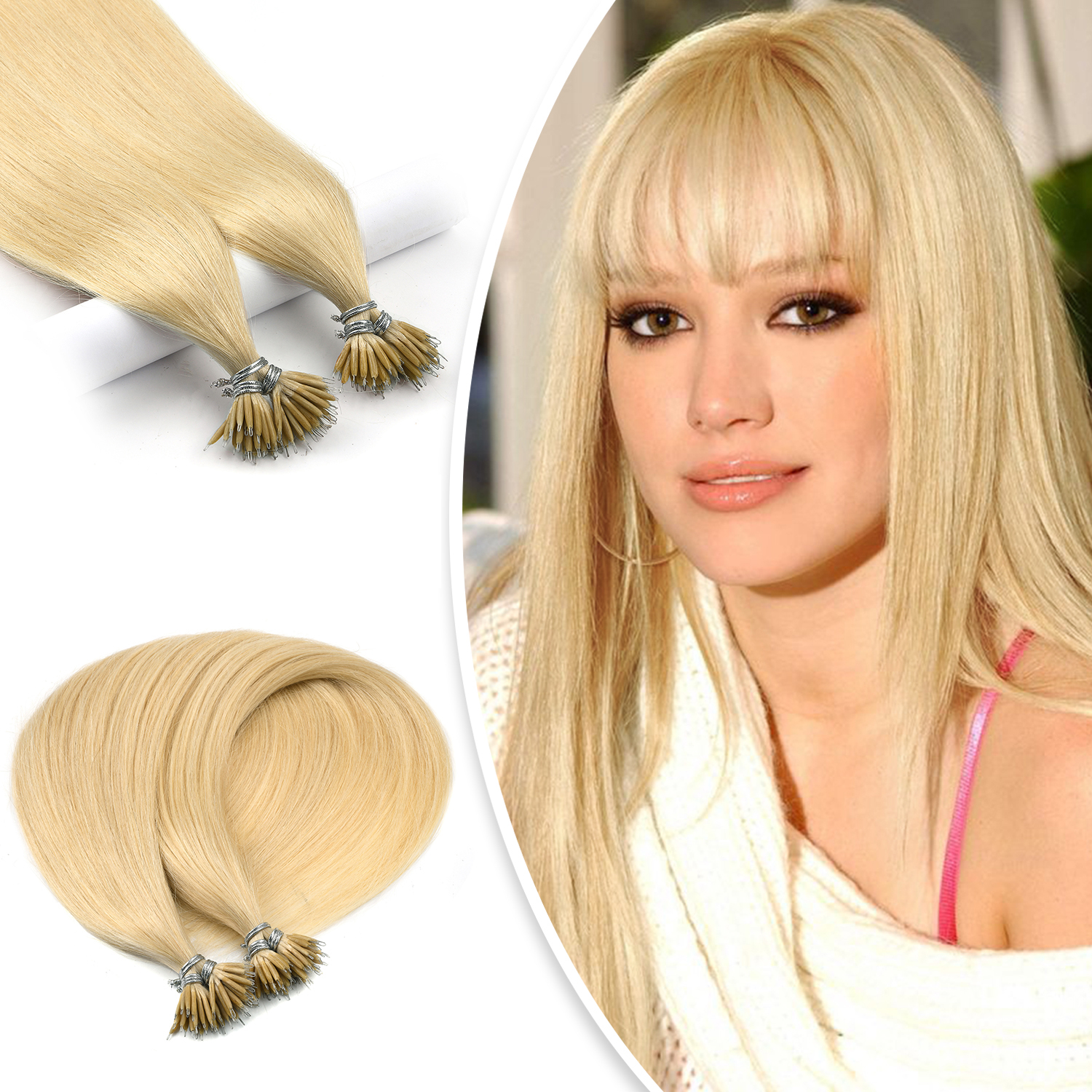 WIT Straight Keratin Capsules Human Fusion Hair Nano Ring Machine Made Remy Pre Bonded Hair Extension 16