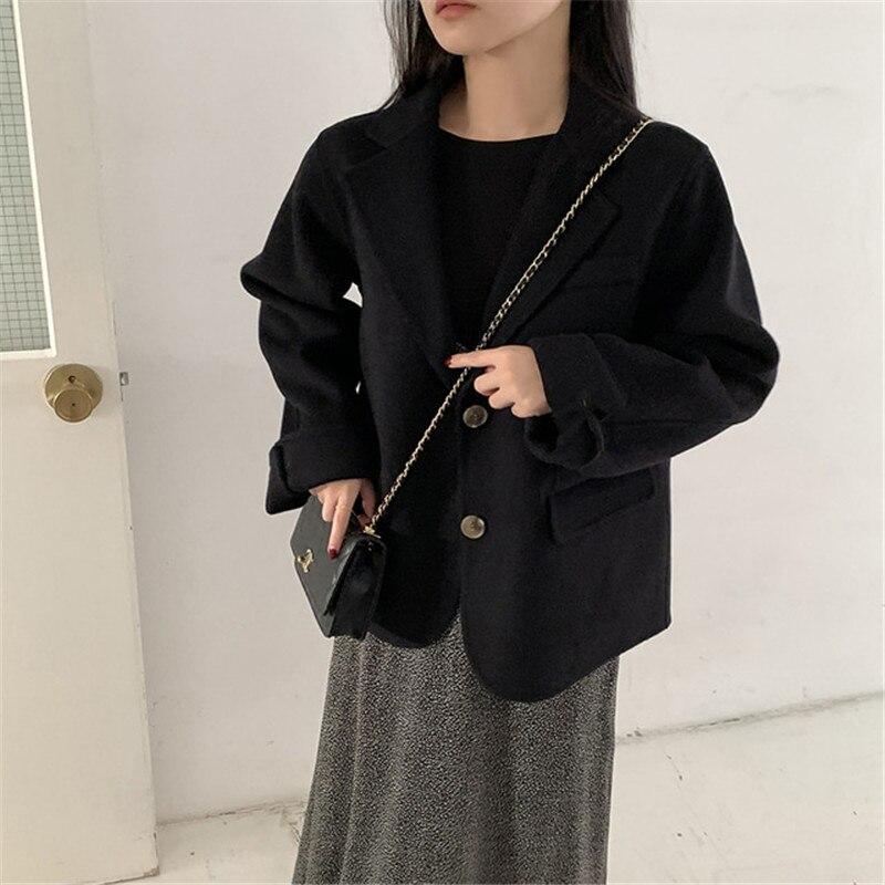 H1e4da5dbdb0942a0b7168885a7d88aaas - Winter Korean Revers Collar Solid Woolen Short Coat