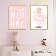 Wall Painting Pink Girl Nordic Poster Cartoon Baby Room Decor Art Canvas Pictures Decoracion Nordica Decoration Home Unframed