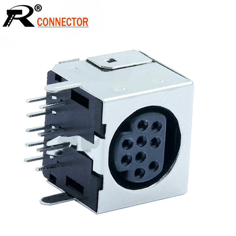 10pcs/lot 9 Pin Mini DIN Female Jack Terminals 90 Degree / Right Angle PCB Panel Mount 9Pin Mini DIN Jack Socket Chassis