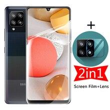2in1 스크린 하이드로 겔 필름, 삼성 갤럭시 A42 5G A40 A41 A 40 41 42 카메라 보호 렌즈, 보호 강화 유리 없음