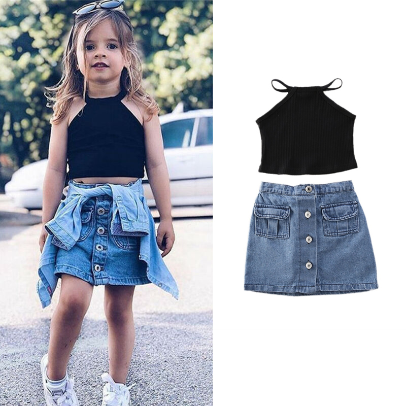 Solid Baby Girl Clothing Set Fashion Summer Clothing Set 2pcs Vest Top T Shirt & Denim Skirts Outfits Sets 1-6 Years