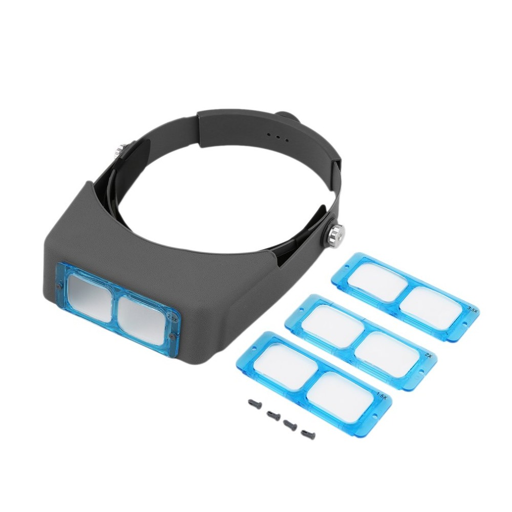 Blue & Black Double Lens Head-mounted Headband Reading  Wearing  Loupe 4 Magnifications Tools
