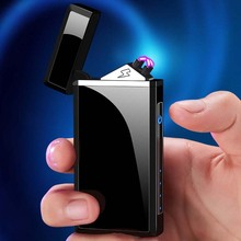 2020 USB Electric Lighter Double Plasma Arc Cigarette Lighter Rechargeable Windproof Electronic Turb