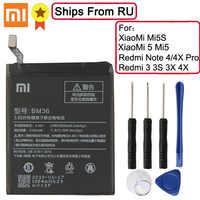 Xiaomi Original batería de reemplazo BM36 BM22 BM47 BN41 BN43 para Xiaomi mi 5S mi 5S mi 5 rojo mi 3 3S 3X 4X Note4 Note4X Note4X Pro