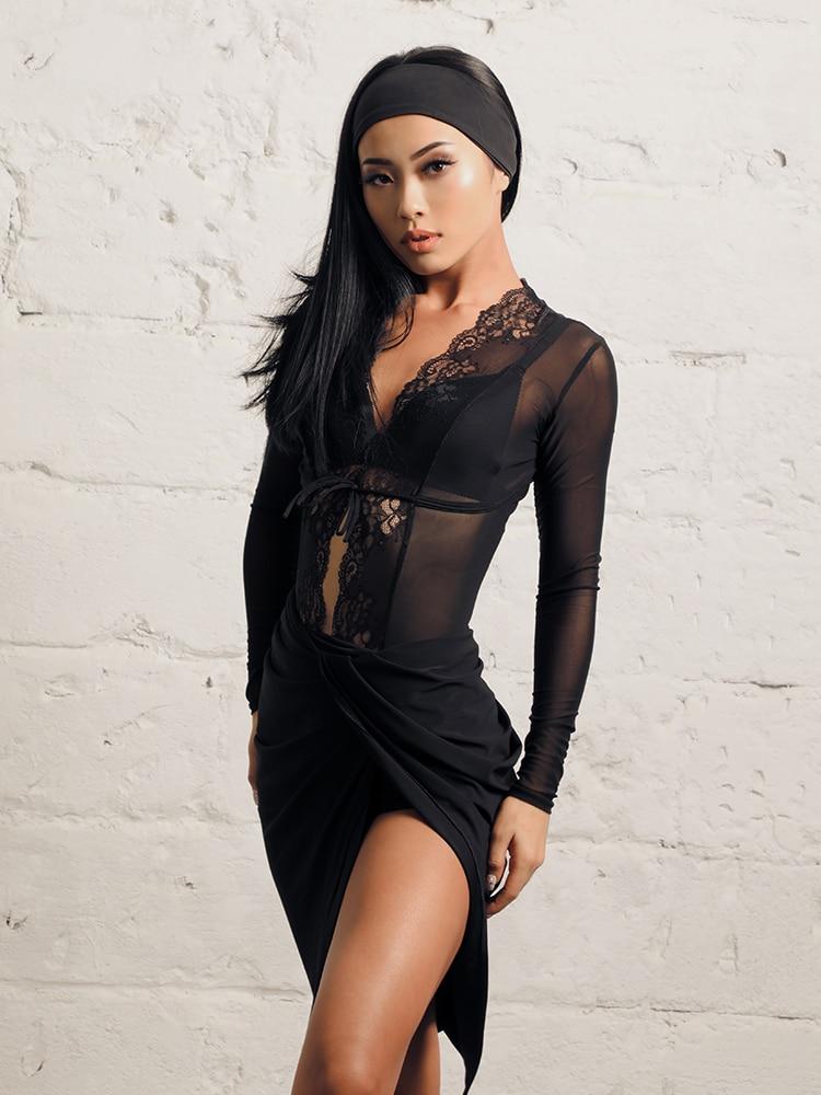 ZYMdancestyle Gentle Touch Body Top #19115 Women Latin Dance Practice Wear Long Sleeve V Neck Mesh Lace Bodysuit Transparent Top