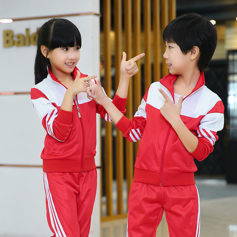 Spring And Autumn Sports Clothing Set Clinquant Velvet Mixed Colors Childrenswear Young Student's School Uniform