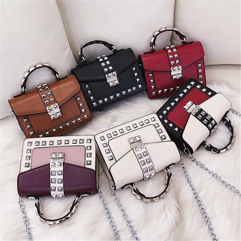 Gradosoo Rivet Flap Bags Women Panelled Shoulder Bags For Women Leather Mini Bags Female Chain Design Small Bags Fashion HMB644 in Top Handle Bags from Luggage Bags