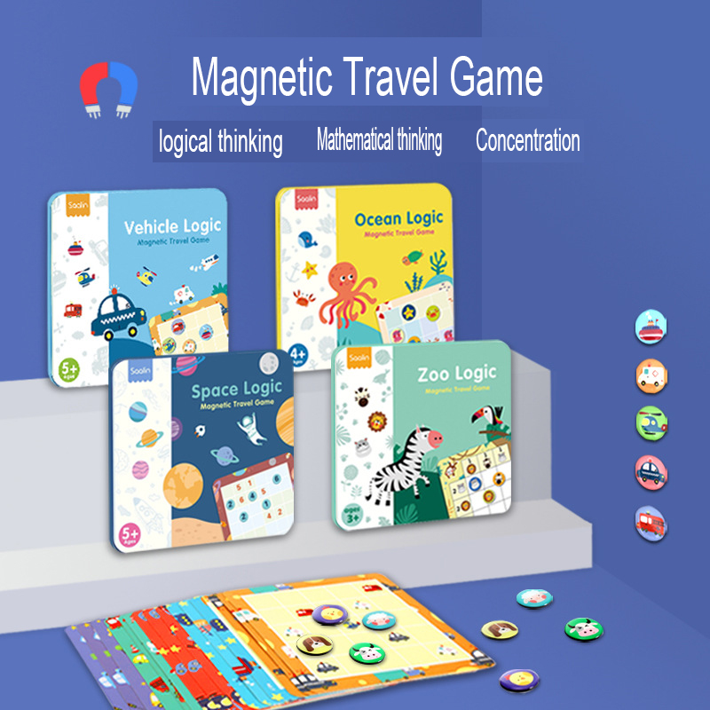 Magnetic Travel Game Sudoku Puzzle Farm/Ocean/SPace/Vehicle/Zoo Logic Board Game ladder training logical thinking toy for 3Y+