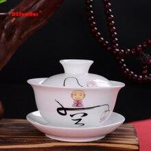 Белая фарфоровая чайная супница, gaiwan чайный фарфоровый горшок, набор для путешествий, красивый чайник, ручная роспись, крышка, чаша, чайный набор, 120 мл