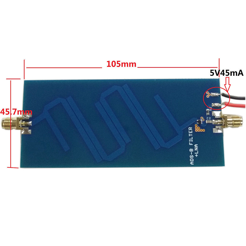 1*DC 5V 1G-1.2GHz Power Supply ADS-B 1090 MHz Bandpass Filter Low Noise