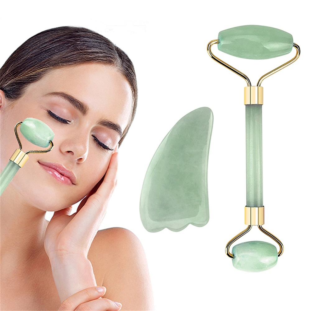 NEW Jade Roller Slimming Face slimmer Massager Lifting Tool Natural Jade Facial Roller Stone Skin Massage Beauty Care <font><b>Masajes</b></font> image
