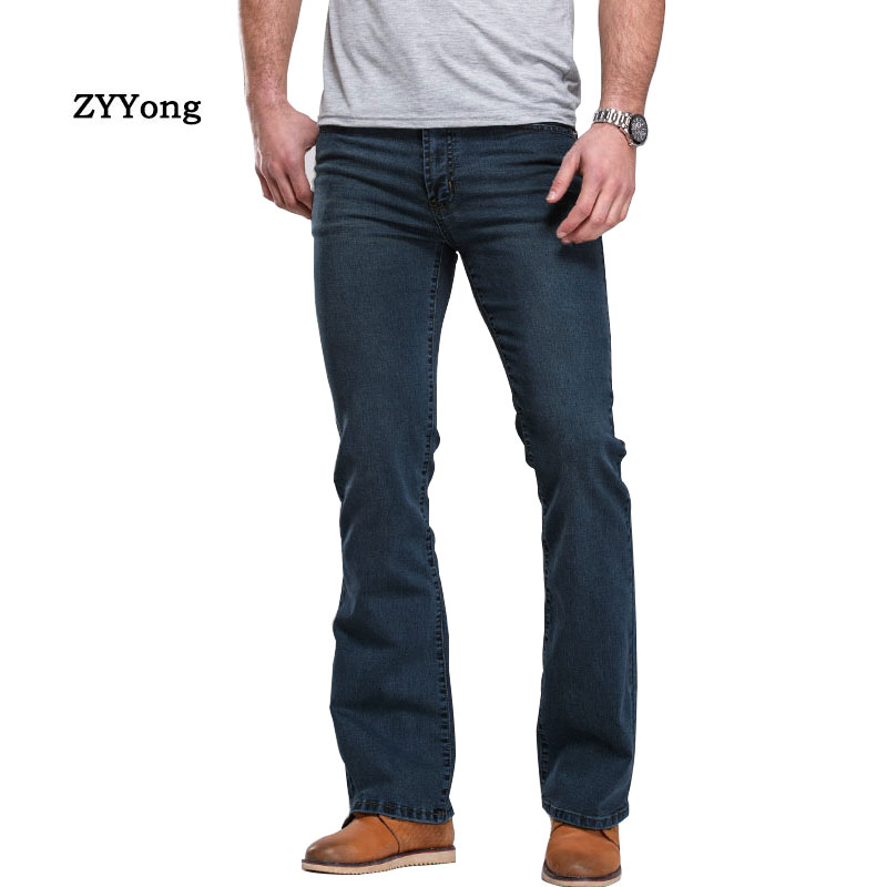 High Quality Mens Boot Cut Jeans Pants Slightly Flared Slim Fit Brand Blue Black Comfortable Leisure  Stretch Denim Trousers