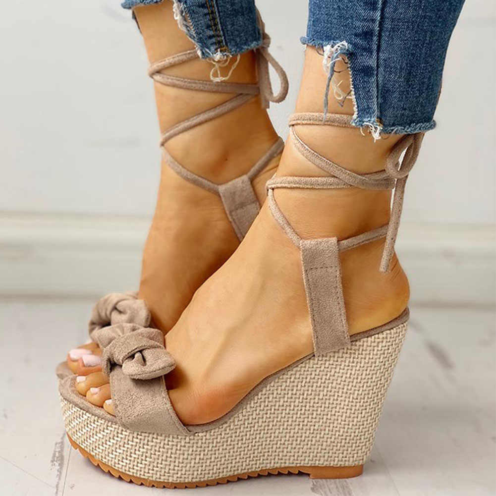 Karinluna yeni toptan takozlar yüksek topuklu ayakkabı rahat platformu moda tatlı yay yaz ayak bileği wrap kadın ayakkabı kadın sandalet