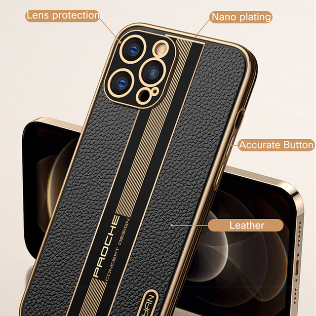 Fashion Luxury Business Shockproof Soft Silicone PU Leather Cell Phone Case For iPhone 12 11 Pro Max Mini Cover Fundas Coque 3