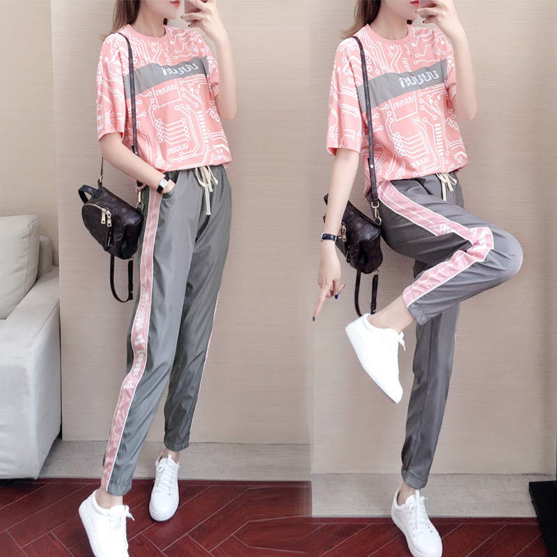 Tracksuit for women Pink Motion Suit Woman Fashion Summer 2020 New Pattern Western Style Hip-hop Run Harbor Taste Loose 2 piece