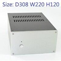Tamaño: D308 W220 H120 DAC carcasa de amplificador de aluminio chasis de fuente de alimentación DIY caso WA124 pura aleación de aluminio puro chasis trasero