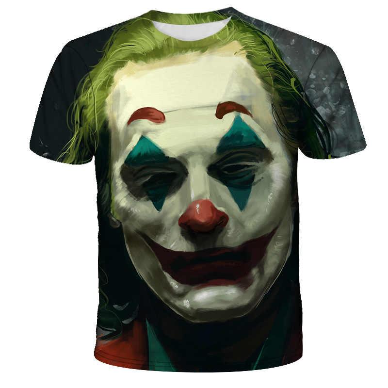 Клоун короткий рукав косплей забавная футболка s Покемон Темный рыцарь 3D Футболка с принтом Мужская джокер лицо Повседневная o-образным вырезом Мужская футболка