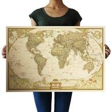 72.5x47.5cm material de Escritório Detalhadas Antigo Cartaz Quadro de Parede Mapa Do Mundo Do Vintage Retro Papel Fosco Papel Kraft Mapa do Mundo