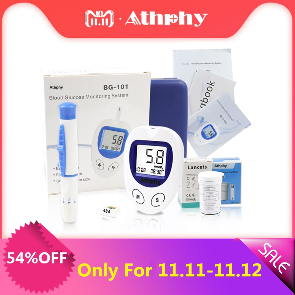 Athphy Blood Glucose Meter Diabetic Test Glucometer Measuring Medical Blood Sugar Monitor With 50/100pcs Strips Lancets Needle