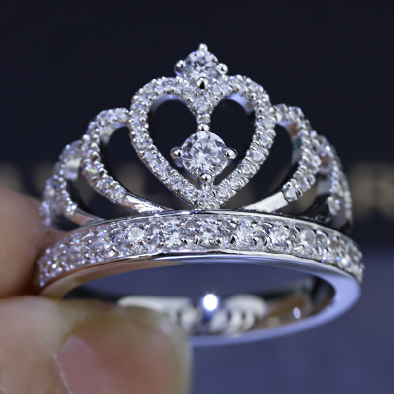 Heart Crown Diamond Ring Real 925 Sterling Silver Jewelry Charm Engagement Wedding Band Rings For Women Bridal Party Accessory
