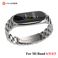 Strap Für Xiaomi Mi Band 6 5 4 3 Edelstahl Metall Opaska Correa Mi Band 5 Strap Miband 4 3 armbänder Armband Globale Version NFC