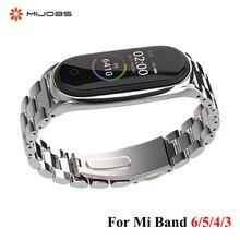Strap For Xiaomi Mi Band 6 5 4 3 Stainless Metal Opaska Correa Mi Band 5 Strap Miband 4 3 Wristbands Bracelet Global Version NFC