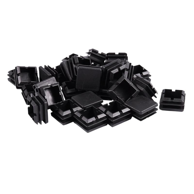 FashionSquare Table Chair Leg Tube Pipe Feet Insert Cap 25mmx25mm 30pcs Black
