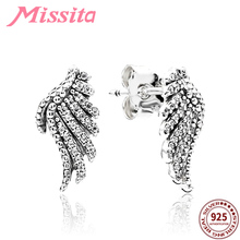 MISSITA Genuine 925 Sterling Silver Feather Fairy Wings Stud Earrings for Women Brand CZ CHIC Jewelry